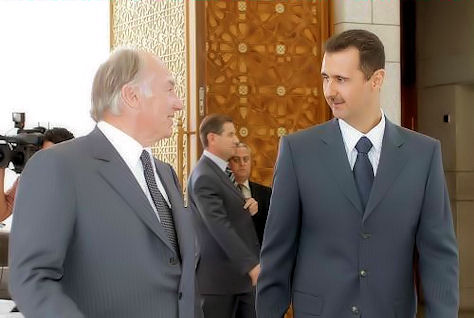 President Bashar Assad with the Aga khan, leader of the Ismaeli community.